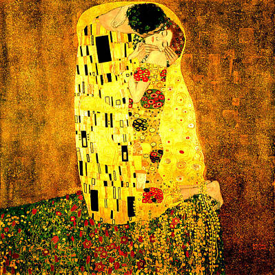 Poster featuring the digital art The Kiss by Gustav Klimt