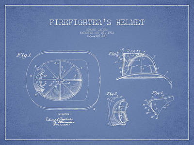 Vintage Firefighter Helmet Patent Drawing From 1932 Poster