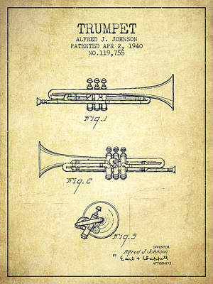 Vintage Trumpet Patent From 1940 - Vintage Poster by Aged Pixel