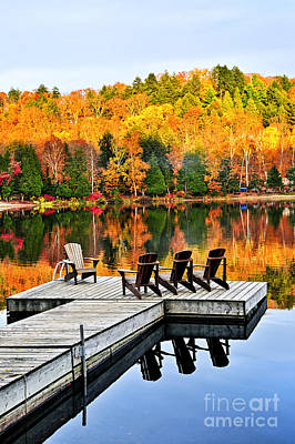 Wooden Dock On Autumn Lake Poster by Elena Elisseeva