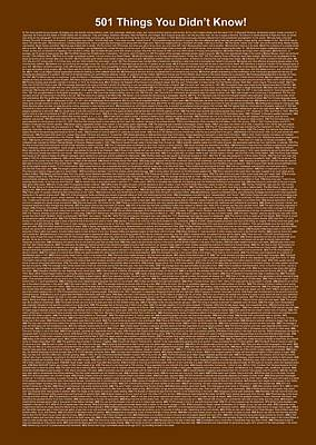 501 Things You Didn't Know - Dark Brown Color Poster