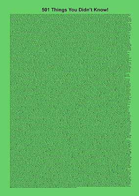 501 Things You Didn't Know - Green Mint Color Poster
