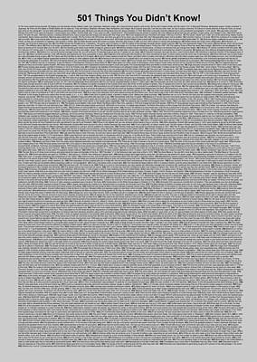 501 Things You Didn't Know - Gray Color Poster