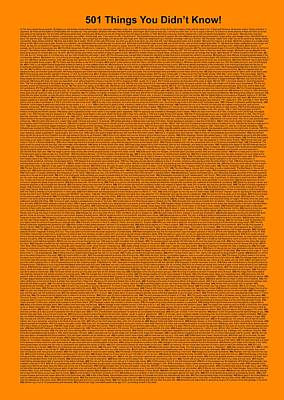 501 Things You Didn't Know - Orange Color Poster