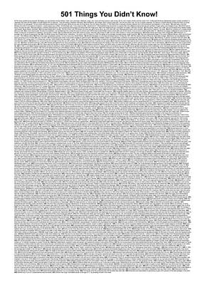 501 Things You Didn't Know - White Color Poster