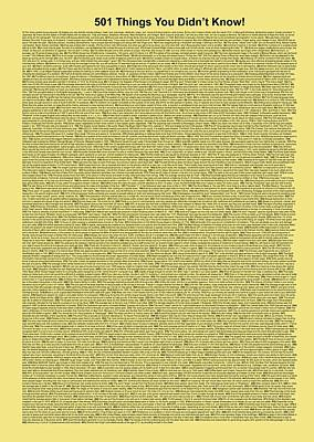 501 Things You Didn't Know - Yellow Butter Color Poster