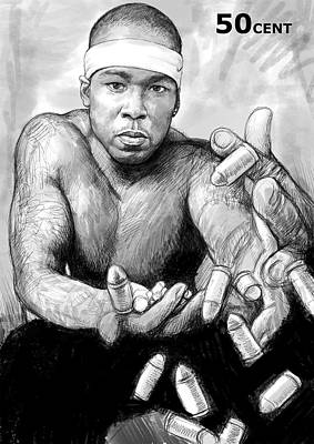 50cent  Art Drawing Sketch Portrait Poster by Kim Wang