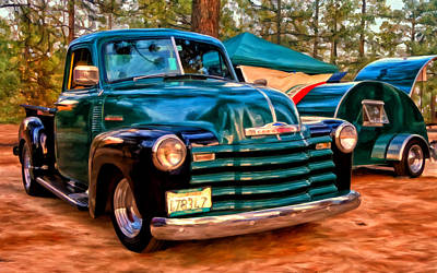 '51 Chevy Pickup With Teardrop Trailer Poster by Michael Pickett