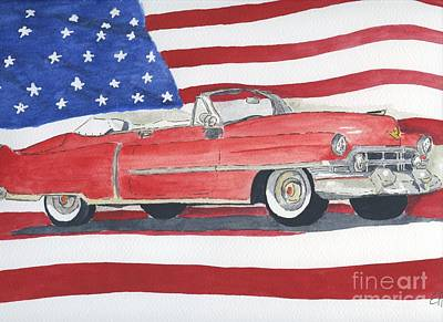 Poster featuring the painting 52 Cadillac Convertible by Eva Ason