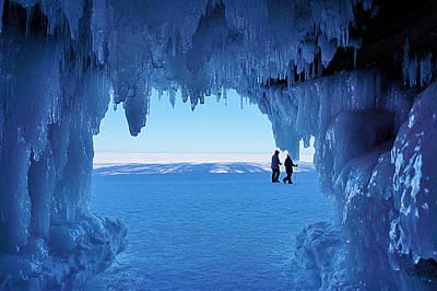 Apostle Island Sea Caves - February 2014   Poster by Carol Toepke