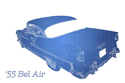 Old Cars Poster featuring the photograph '55 Bel Air by Aaron Berg