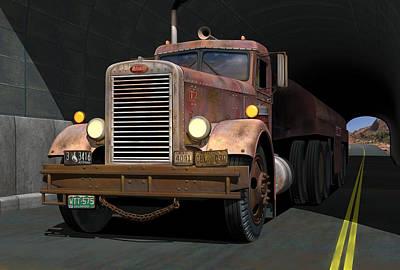'55 Peterbilt Tunnel Scene Poster