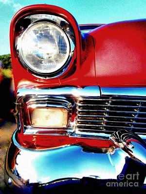 56 Chevy Bel Air Red American Classic Car  Poster by Janine Riley