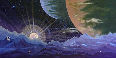 Poster featuring the painting Cosmic Light Series by Len Sodenkamp