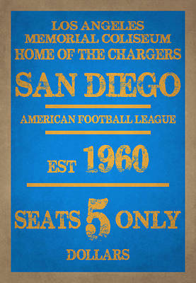 San Diego Chargers Poster by Joe Hamilton