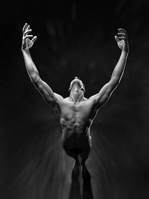 5866 Powerful Male Nude Reaching Up Poster by Chris Maher