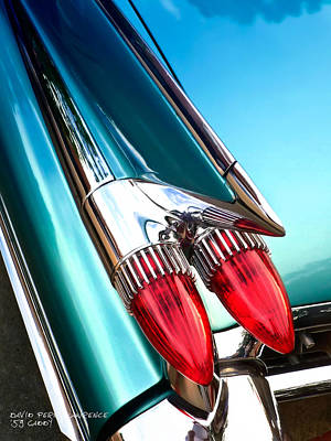 Poster featuring the photograph '59  Caddy Tail Fins by David Perry Lawrence
