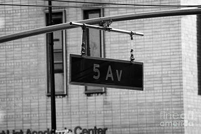 5th Avenue Ave Road Traffic Sign Hanging From Overhead Pole New York Poster by Joe Fox
