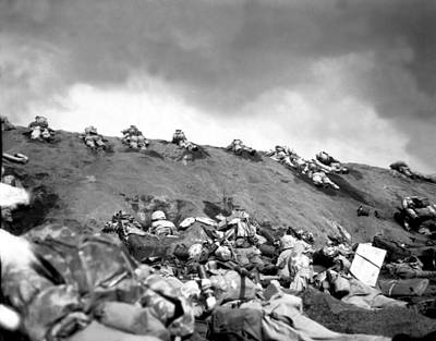 5th Division Marines Crawl Up A Slope Poster