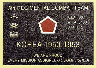 5th Regimental Combat Team Arlington Cemetary Memorial Poster