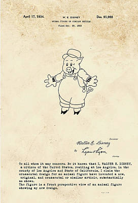 Disney Pig Patent Poster by Marlene Watson