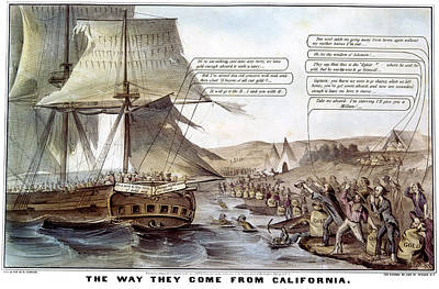 Gold Rush Cartoon, 1849 Poster by Granger