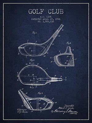 Golf Club Patent Drawing From 1926 Poster