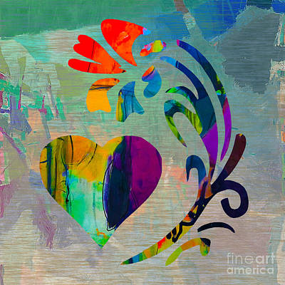 Heart And Flowers Poster by Marvin Blaine