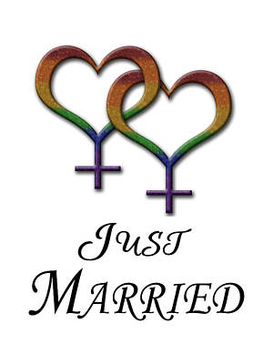 Just Married Lesbian Pride Poster by Tavia Starfire