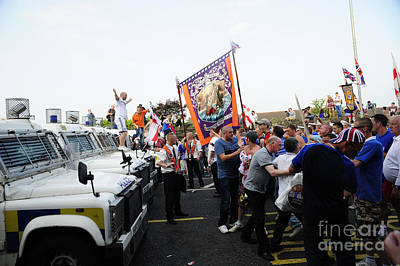 Loyalist Protesters Attack Police Lines Poster