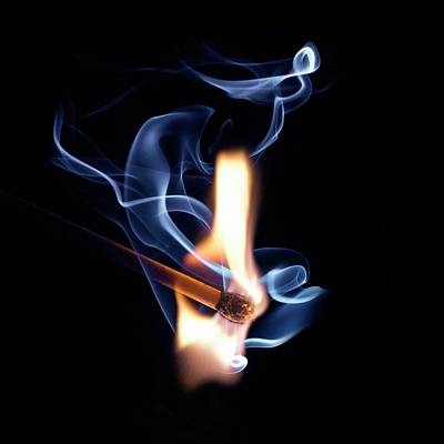 Matchstick On Fire Poster by Science Photo Library