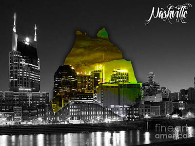 Nashville Skyline And Map Watercolor Poster by Marvin Blaine