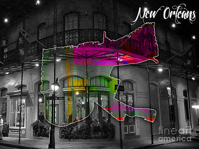New Orleans Map Watercolor Poster by Marvin Blaine