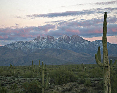 Four Peaks Sunset Snow Poster