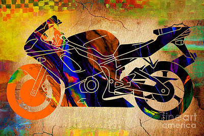 Ninja Motorcycle Art Poster by Marvin Blaine