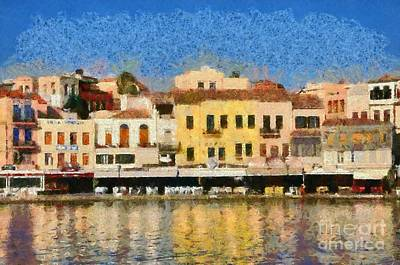 Painting Of The Old Port Of Chania Poster by George Atsametakis