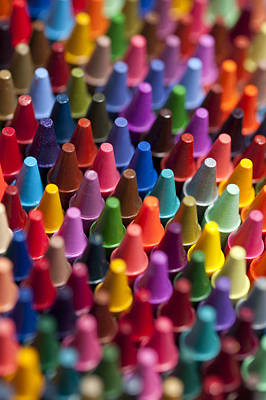 Rows Of Multicolored Crayons  Poster