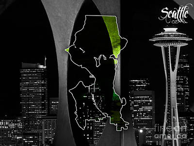 Seattle Map And Skyline Watercolor Poster by Marvin Blaine