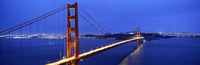Suspension Bridge Lit Up At Dusk Poster by Panoramic Images