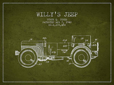 Vintage Willys Jeep Patent From 1942 Poster by Aged Pixel