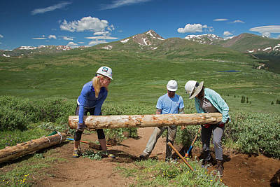 Volunteers Maintaining Hiking Trail Poster
