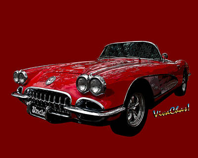 60 Red Corvette Poster