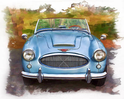 Poster featuring the mixed media 62 Austin Healy by Deborah Boyd
