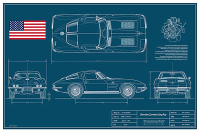 '63 Corvette Sting Ray Blueplanprint Poster