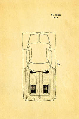'63 Corvette Stingray 2 Patent Art 1962 Poster by Ian Monk