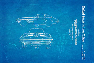 '63 Corvette Stingray Patent Art 1962 Blueprint Poster by Ian Monk
