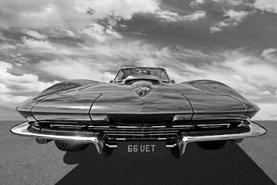 66 Vette Stingray In Black And White Poster