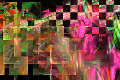 Abstract Checkered Pattern Fractal Flame Poster by Keith Webber Jr