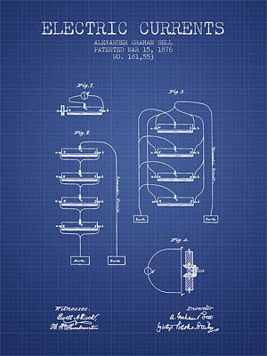 Alexander Graham Bell Electric Currents Bell Patent From 1876 -  Poster