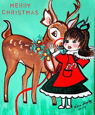 Little Girl With Reindeer Poster